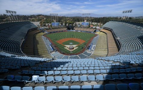 LOS ANGELES, CA - AUGUST 03: View from the top of the park before the Los Angeles Dodgers play the San Diego Padres at Dodger Stadium on August 3, 2019 in Los Angeles, California. (Photo by John McCoy/Getty Images)