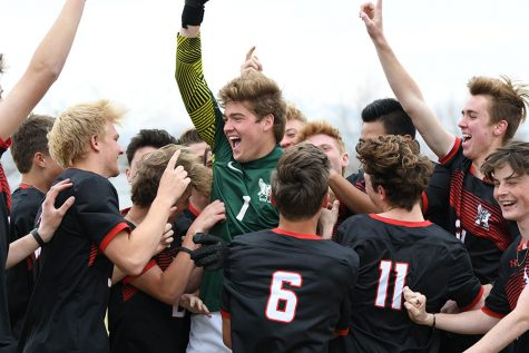 Soccer boys celebrate the season March 13th, their last time together as a team.