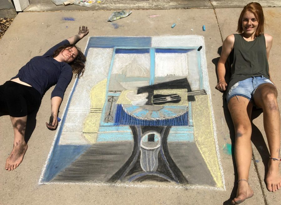 Emma+and+Hannah+Cecil+proudly+display+their+chalk+the+walk+art.+