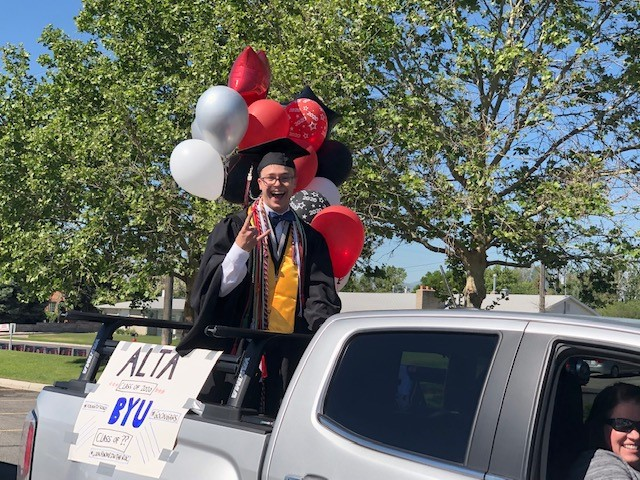 Blake Doty celebrates his last day as an Alta student. BYU is part of his future plans.