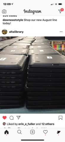 """Stakes of chromebooks await new """"owners."""" The school moved to one to one technology to reduce the spread of Covid-19."""