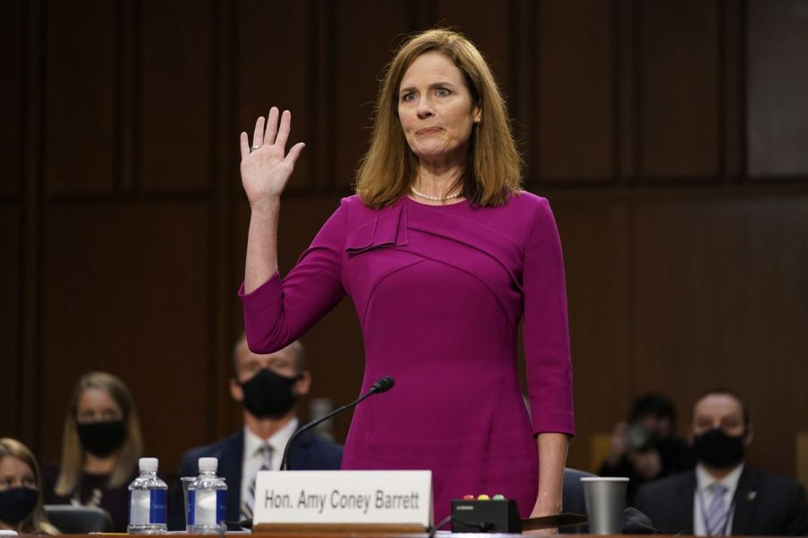 Judge Amy Coney Barrett is sworn in during hearings to replace Ruth Bader Ginsberg who pass away at the end of September.