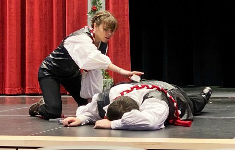 Chloe Barrus and Chandler King perform a scene from King Henry the 6th, Part 1.