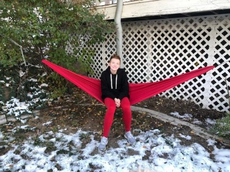 Mackenzie Searle shows off her outdoor hammock that she made in Sport and Outdoor Product Design.