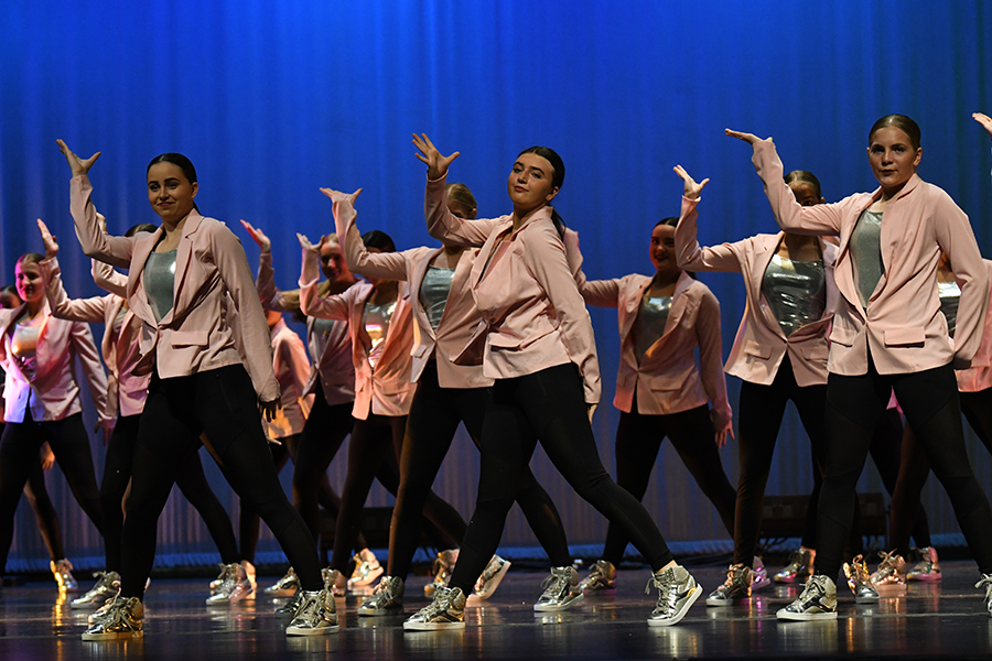 Members of last year's Dance Company perform for their parents at a special concert just before Covid closed in school instruction and their concerts were cancelled.