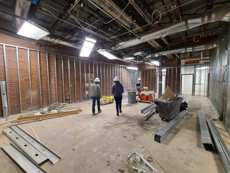 The former main and attendance offices are being transformed into a new career center, classroom and alumni room with a large conference area.