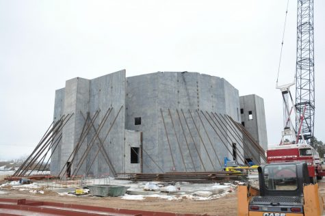 This image of the Performing Arts Center was taken February 2019 after the tilt-up walss had been placed.