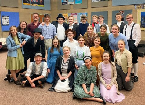 Theatre students pose for a group photo at the state competition held at Spanish Fork High School last weekend.