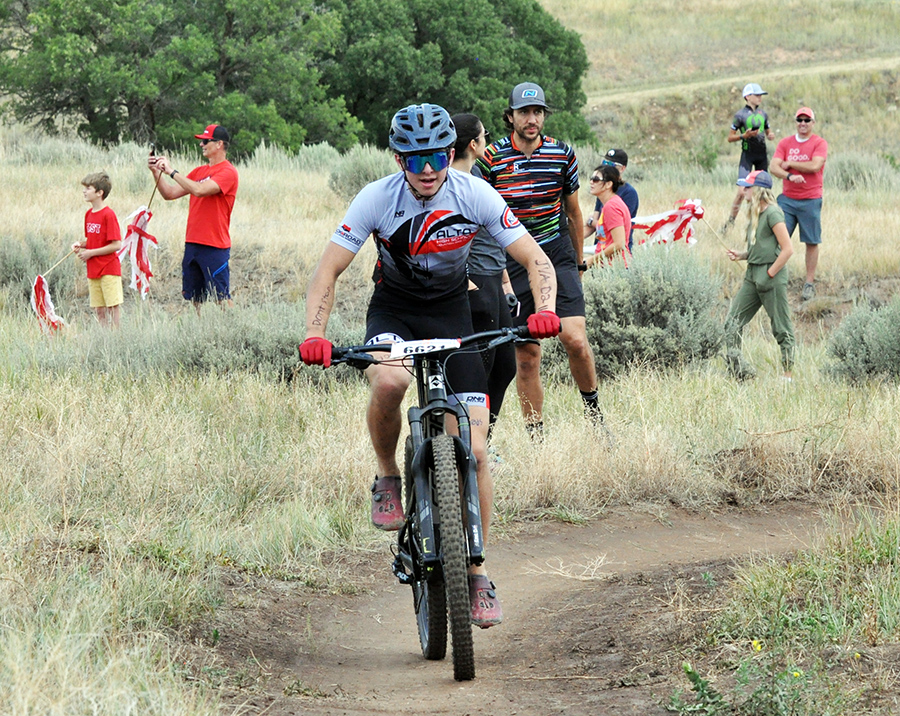 Eric Drebing races to the finish line in this year's Soldier Hollow race in August.