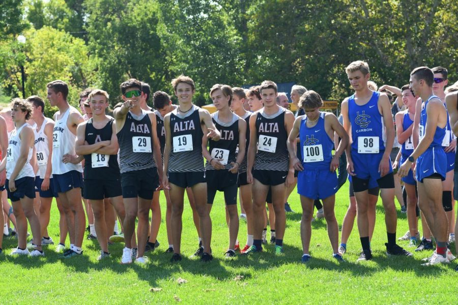 The Boys Varsity XC team prepares to take the course at last weekends Murray Invitational at Murray Park.