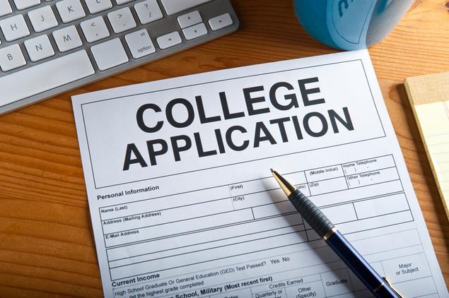 Blank college application on a desktop.